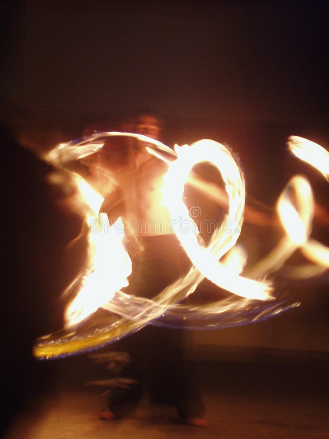 Fire twirling royalty free stock photos