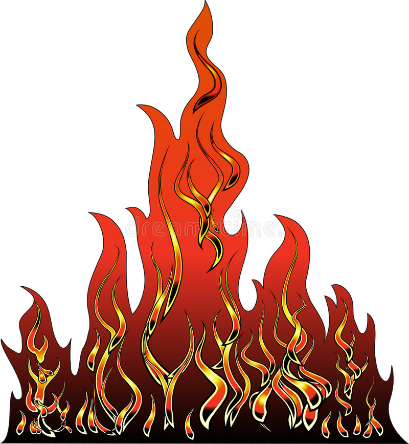 Fire vector illustration. Vector stylized fire illustration made by gradient mash royalty free illustration