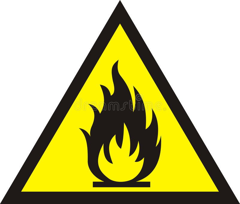 Fire warning sign on white background. vector illustration
