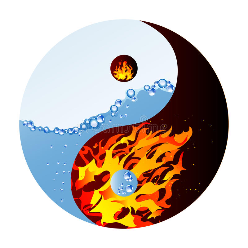 Fire and water vector illustration