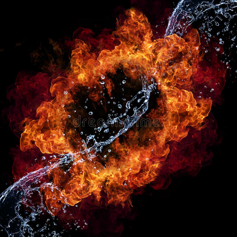 Fire and water. Water and fire connection, representation of elements. on black background royalty free stock images