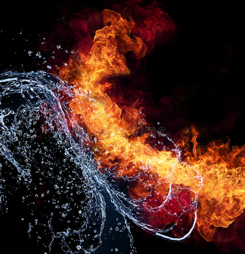 Fire and water. Water and fire connection, representation of elements. Isolated on black background stock image