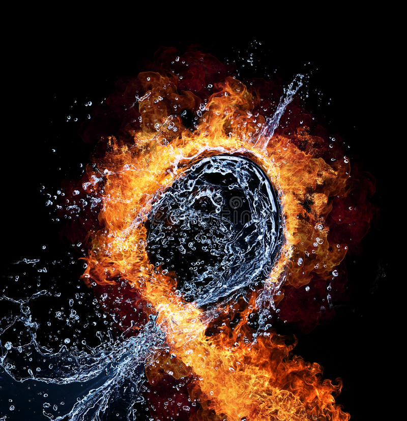 Fire and water. Water and fire connection, representation of elements. Isolated on black background royalty free stock photo