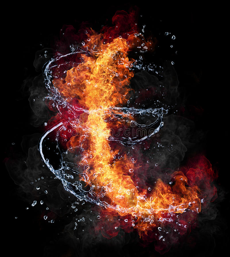Fire and water. Water and fire connection, representation of elements. Isolated on black background royalty free stock images