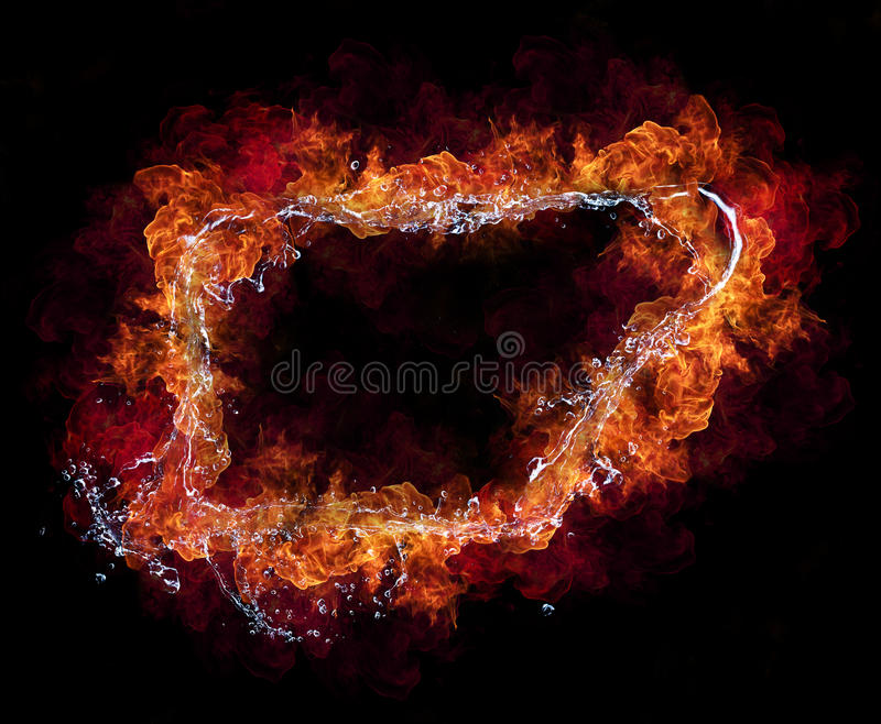 Fire and water. Water and fire connection in frame design, representation of elements. Isolated on black background stock photos