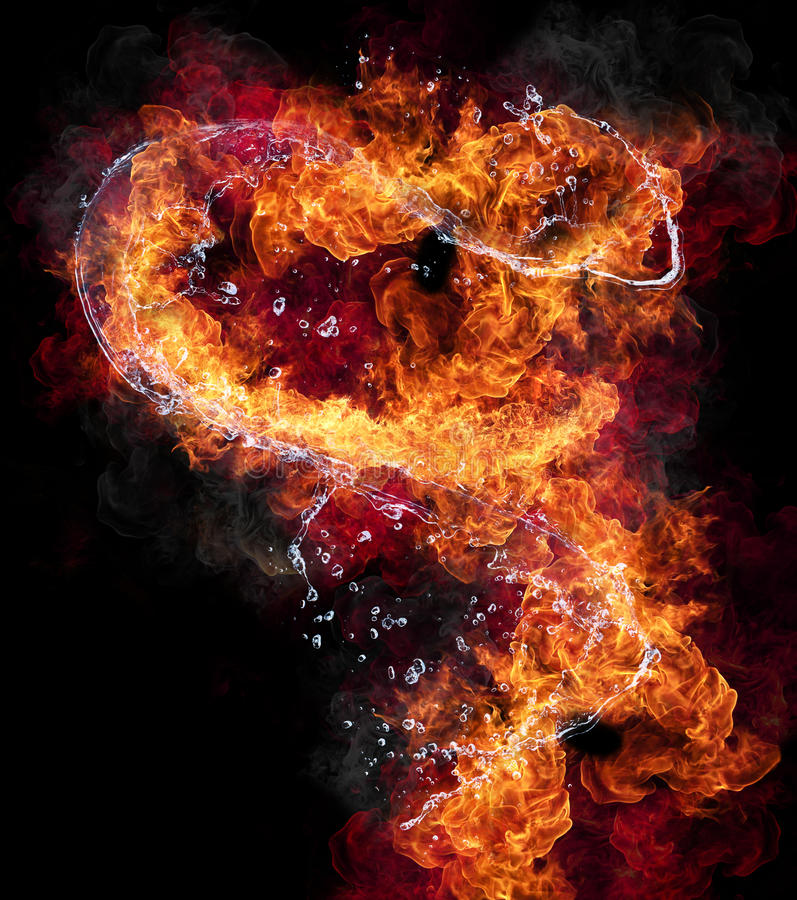 Fire and water. Water and fire connection, representation of elements. Isolated on black background stock images