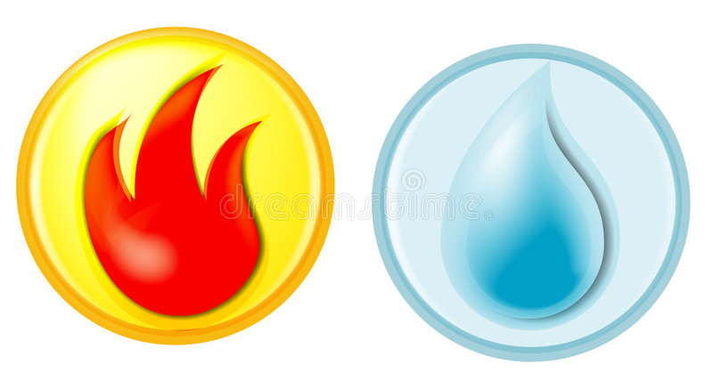 Fire and water. Symbols for fire and water