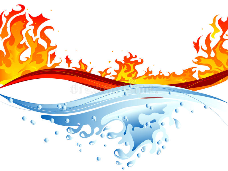 Fire and water. Abstract vector illustration