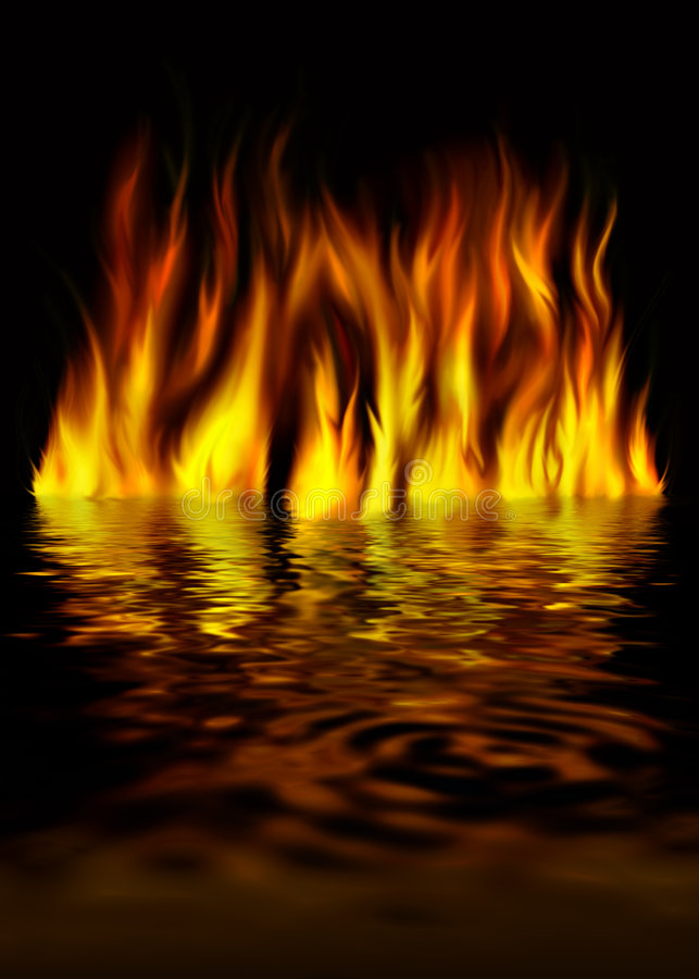 Fire on water on a black background stock illustration