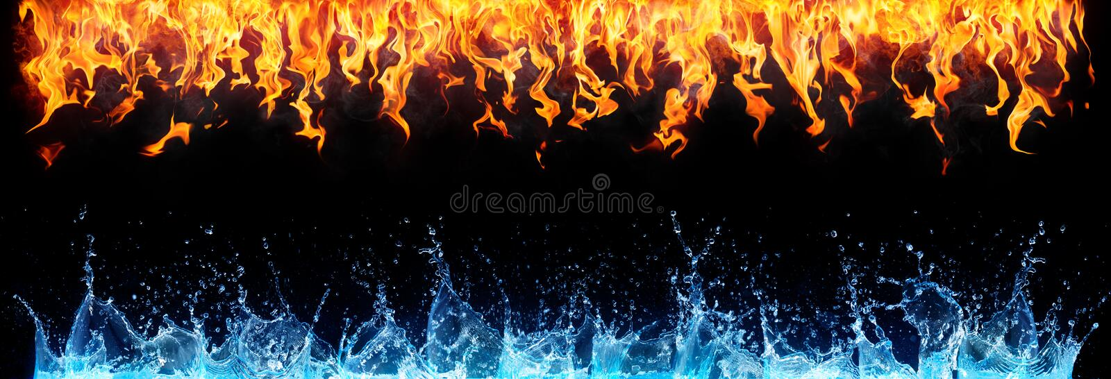 Fire and water on black. Opposite energy