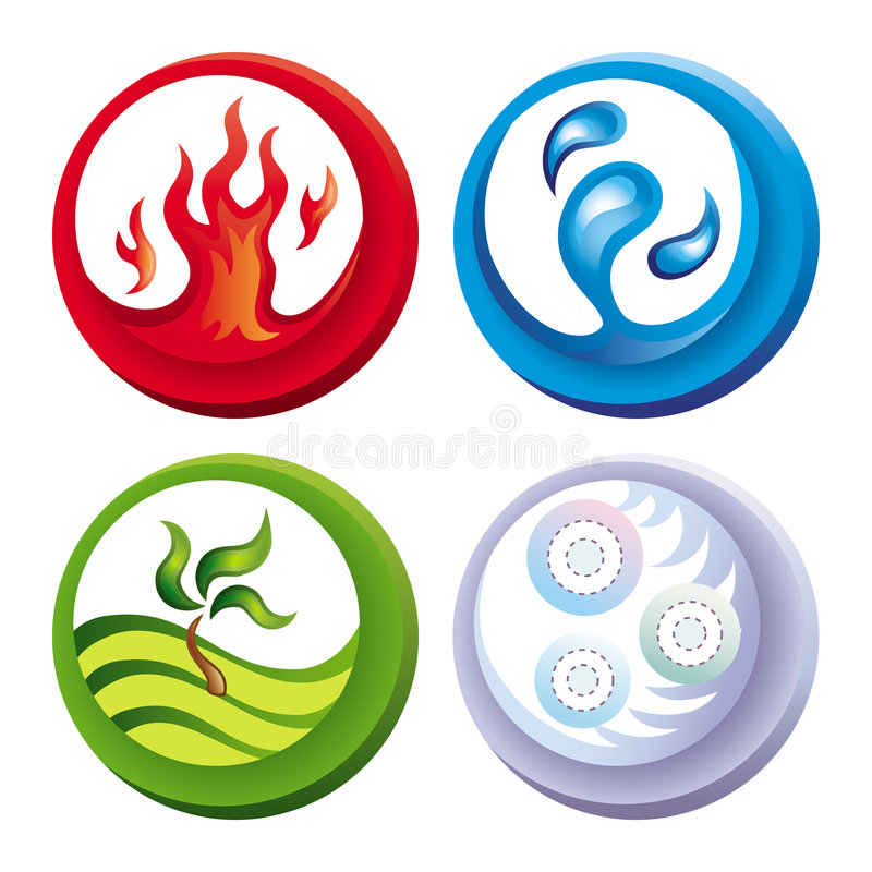 Fire, water, soil and air stock image