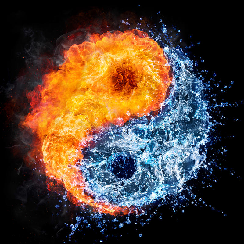 Fire and water - yin yang concept. Tao symbol vector illustration