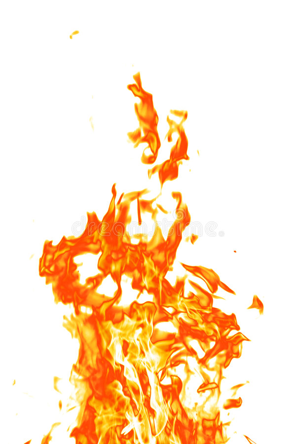 Fire on white stock photos