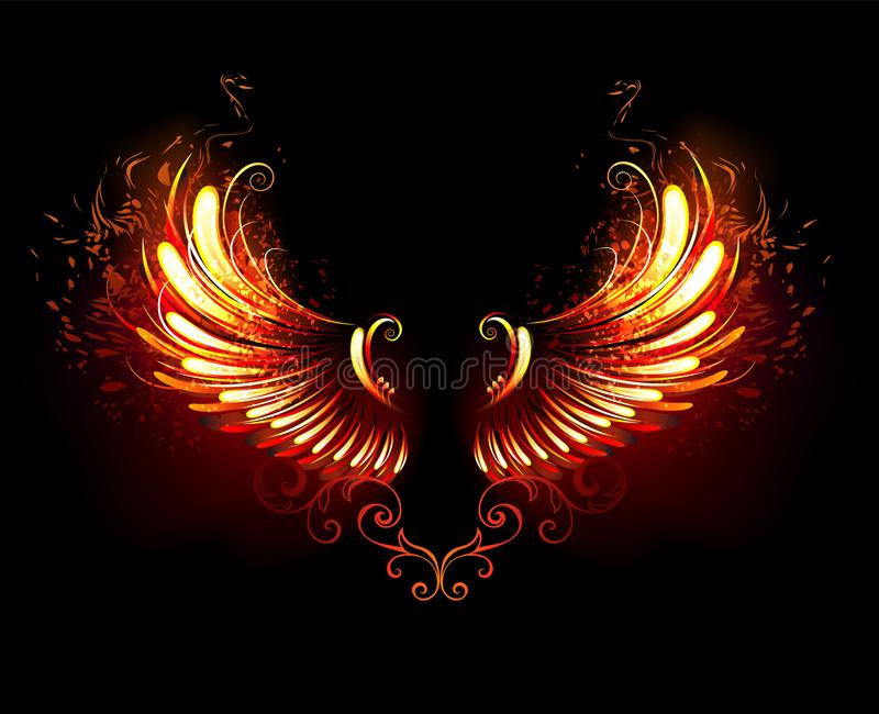 Fire wings on black background stock illustration