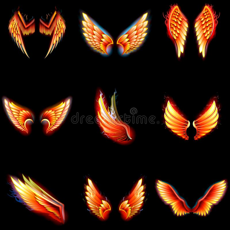 Fire wings phoenix vector winged angel burning fantasy bird fiery wingspan of inferno fireburn in hot hell illustration. Isolated on black background royalty free illustration