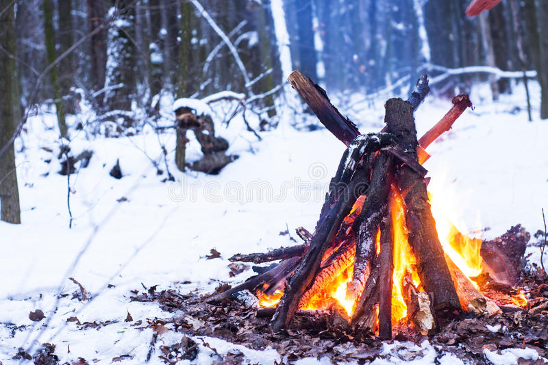 Fire in the winter forest. Couple in love near the fire, winter, snow royalty free stock image