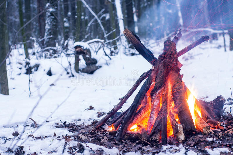 Fire in the winter forest. Couple in love near the fire, winter, snow stock photo