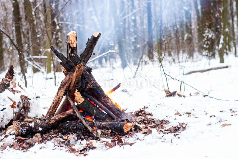 Fire in the winter forest. Couple in love near the fire, winter, snow stock images