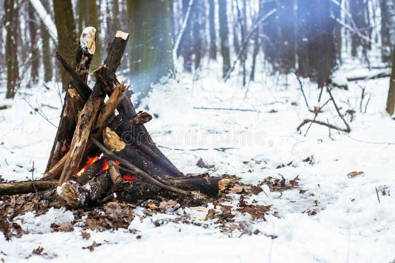 Fire in the winter forest. Couple in love near the fire, winter, snow royalty free stock photo