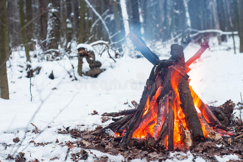 Fire in the winter forest. Couple in love near the fire, winter, snow stock photos