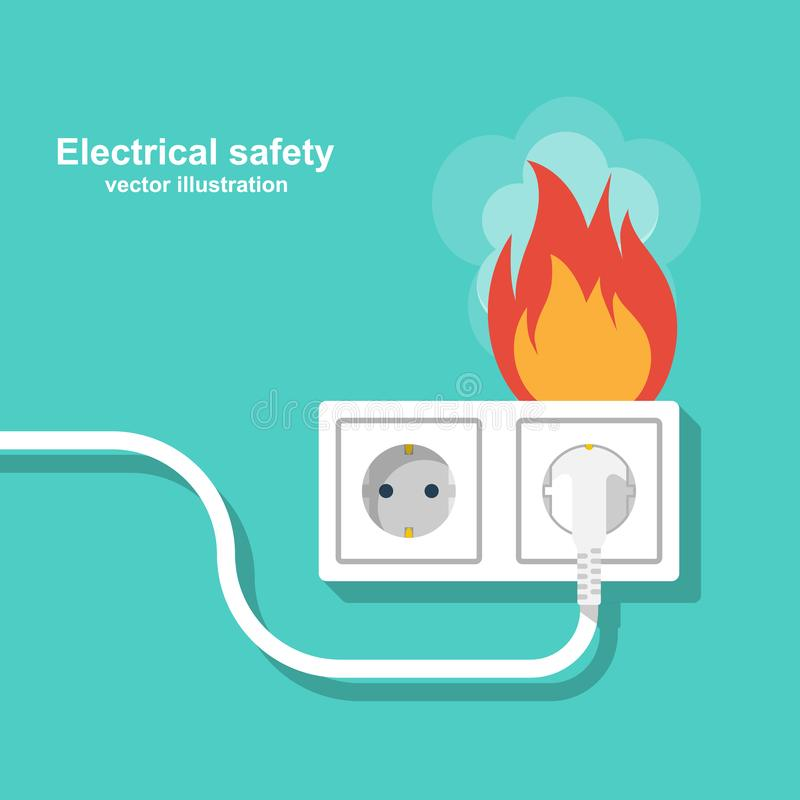 Fire wiring. Socket and plug on fire from overload stock illustration
