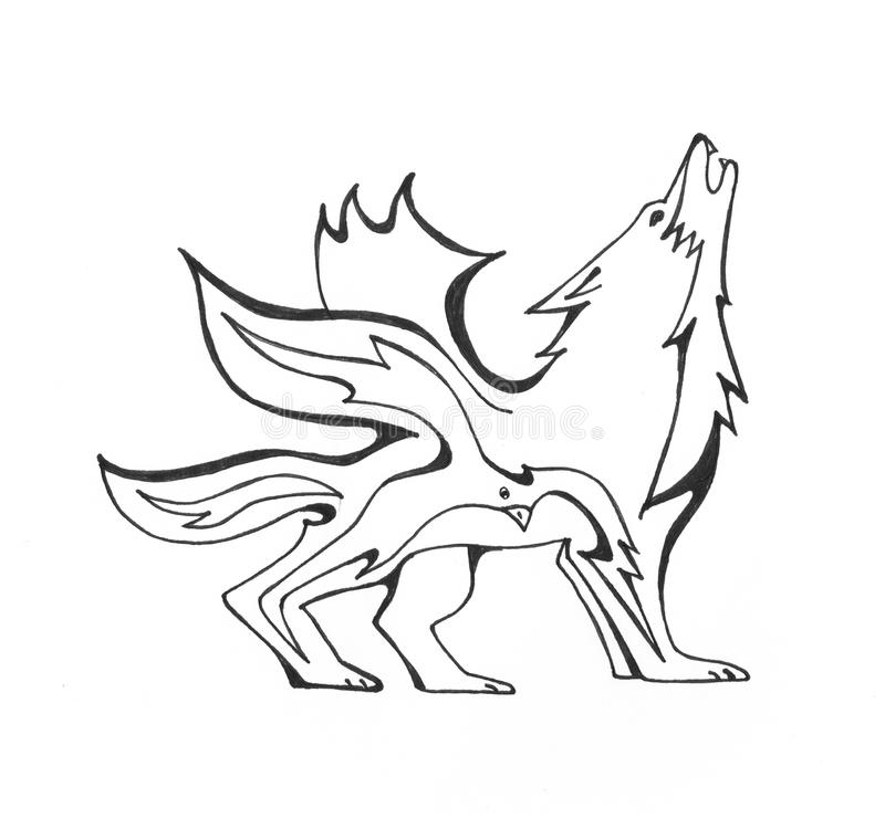 Fire wolf and a bird stock illustration