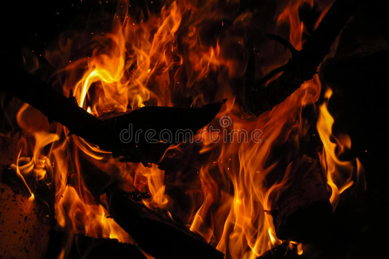 Fire wood burning at night. Big wood fire in the dark. Camp fire stock photos