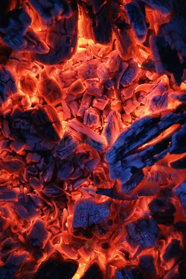 Fire wood coal amber ash closeup. Fire wood coal and amber ash closeup stock photo