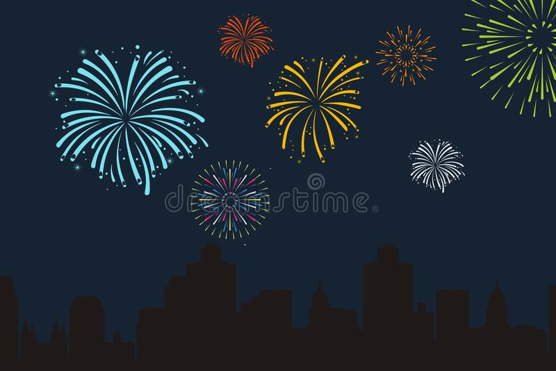 Fire works background stock illustration