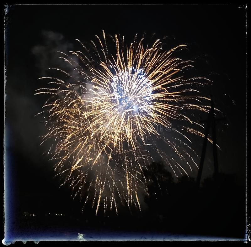 Fire works in Blanes royalty free stock photo