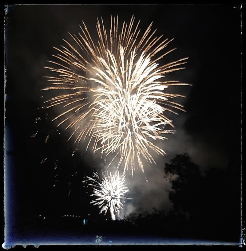 Fire works in Blanes royalty free stock image