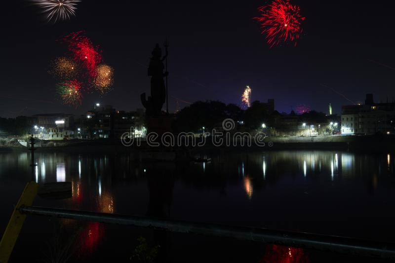 Fire works at night with city view royalty free stock photo