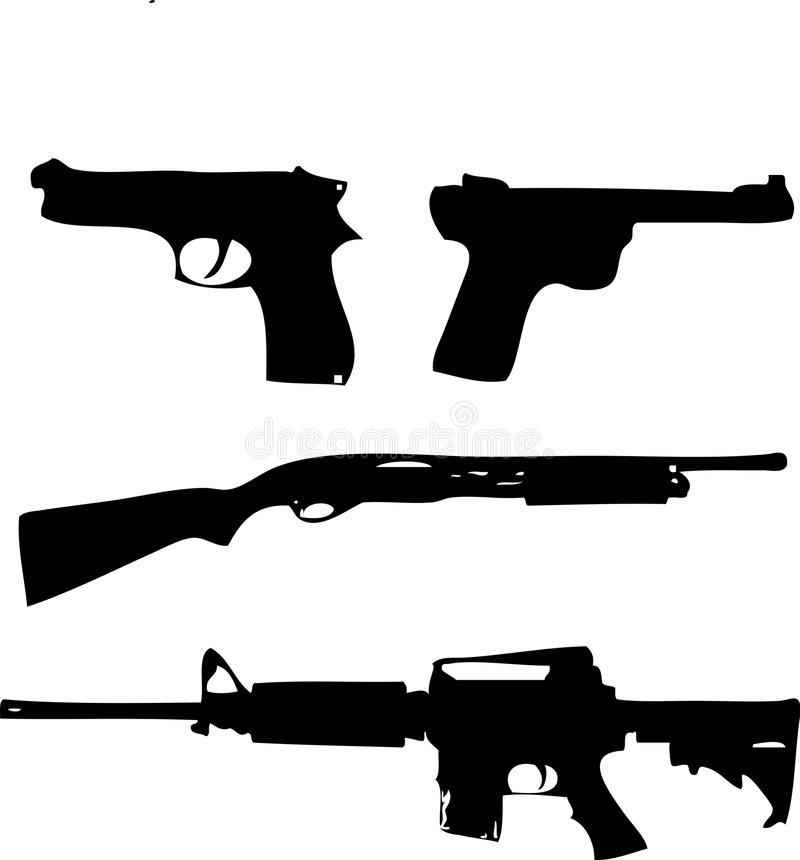 Download Firearm silhouettes stock vector. Image of shoot, ptoone - 5961108