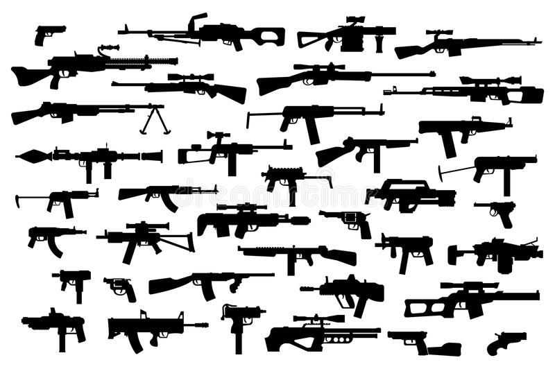 firearms Dirigez le grand ensemble de différentes armes modernes du feu Silhouettes noires sur le fond d'isolement par blanc Vue  illustration stock