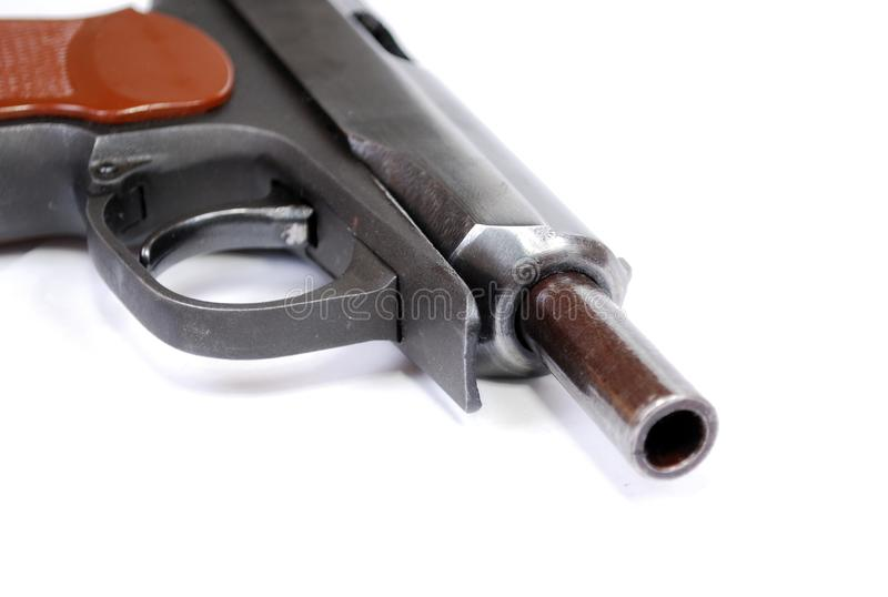 Firearms of limited defeat the service pistol rose on a barrier delay. It is isolated stock photography