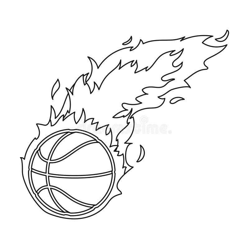 fireball Único ícone do basquetebol na Web da ilustração do estoque do símbolo do vetor do estilo do esboço ilustração royalty free