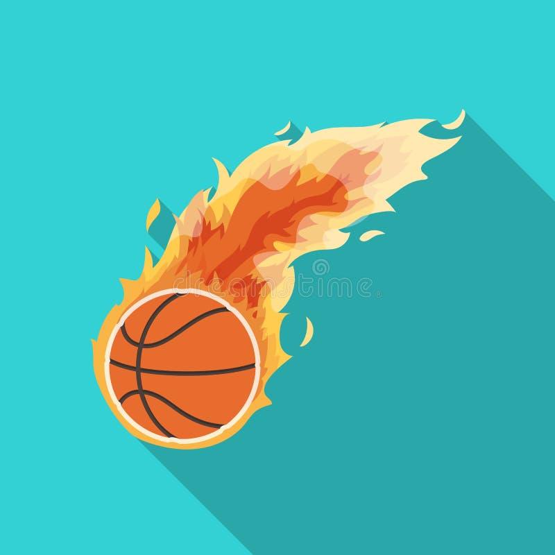 fireball Único ícone do basquetebol na Web lisa da ilustração do estoque do símbolo do vetor do estilo ilustração do vetor