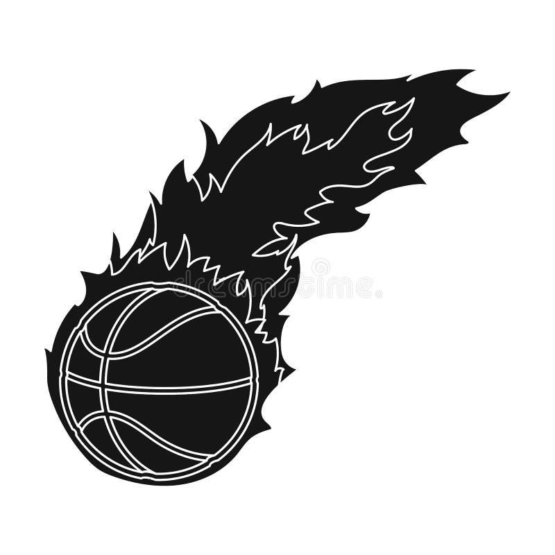 fireball Único ícone do basquetebol na Web preta da ilustração do estoque do símbolo do vetor do estilo ilustração royalty free