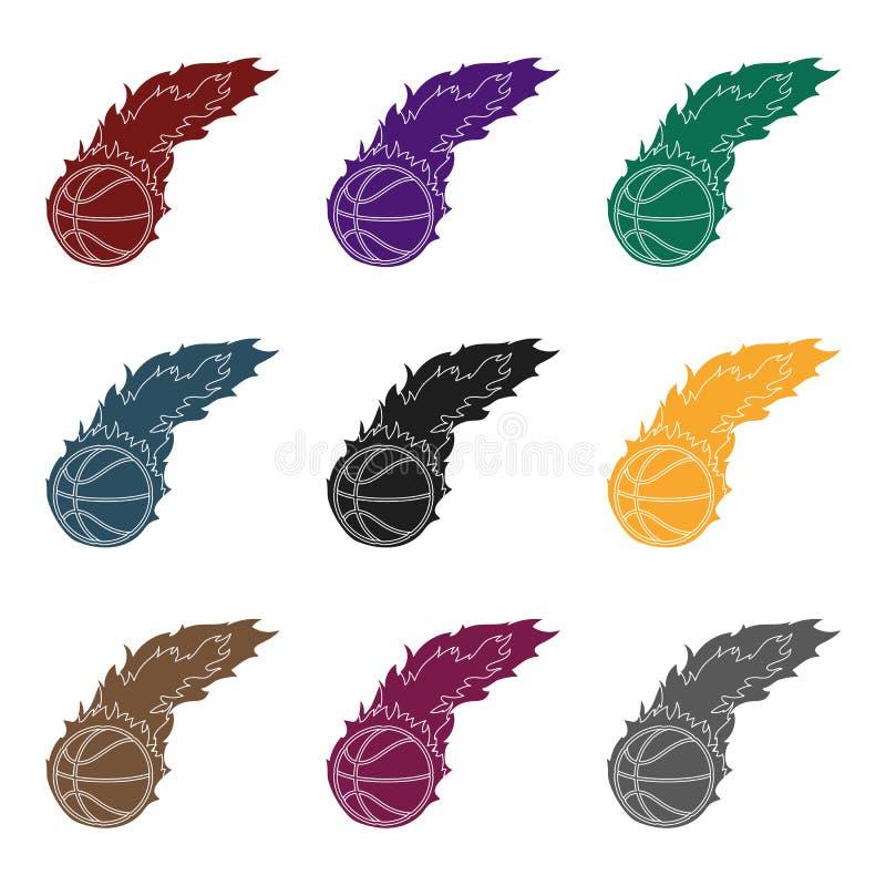 fireball Único ícone do basquetebol na Web preta da ilustração do estoque do símbolo do vetor do estilo ilustração do vetor
