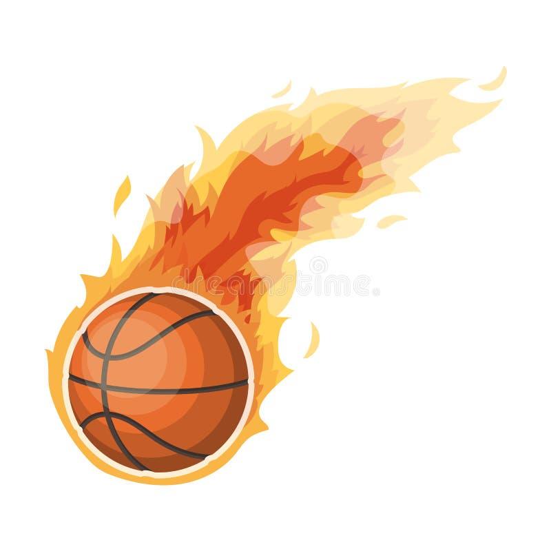 fireball Único ícone no avaliador do estilo dos desenhos animados, Web do basquetebol da ilustração do estoque do símbolo do bitm ilustração stock