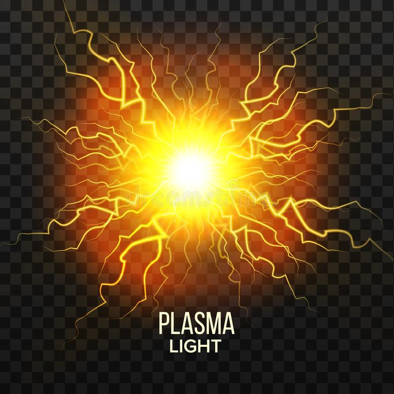 Fireball Plasma Vector. Lightning Effect. Magic Explosion. Voltage Sphere. Realistic Isolated Transparent Illustration vector illustration