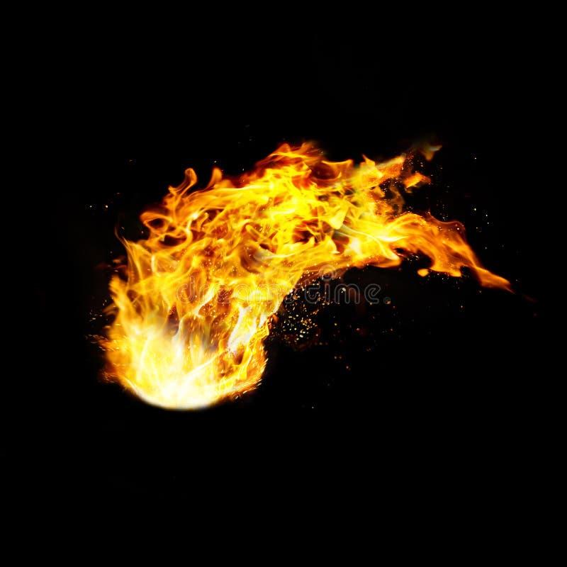 Fireball realistic fire, isolated on black vector illustration