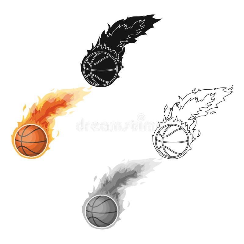 fireball Solo icono del baloncesto en web del ejemplo de la acción del símbolo del vector del estilo de la historieta stock de ilustración