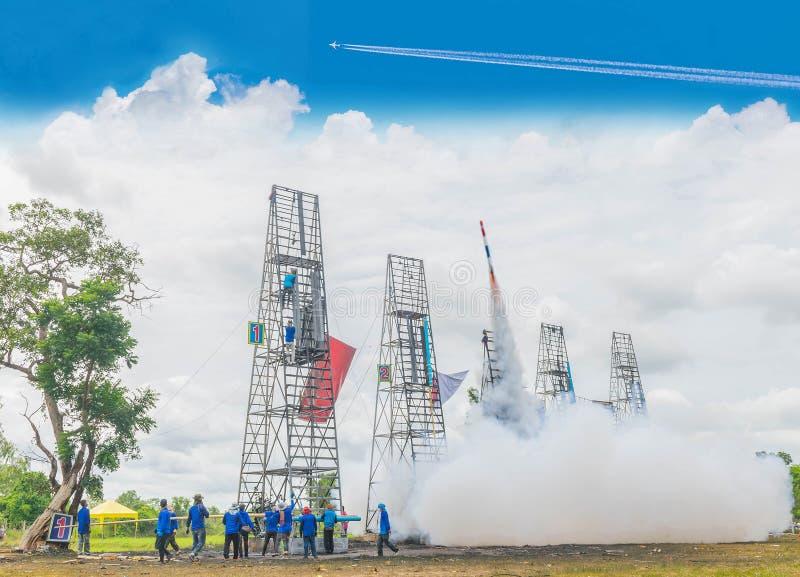 The fireballs,Thai rocket taking off to the sky, Thailand community rocket festival at Phanom Phrai District, Roi Et Province.  stock photos