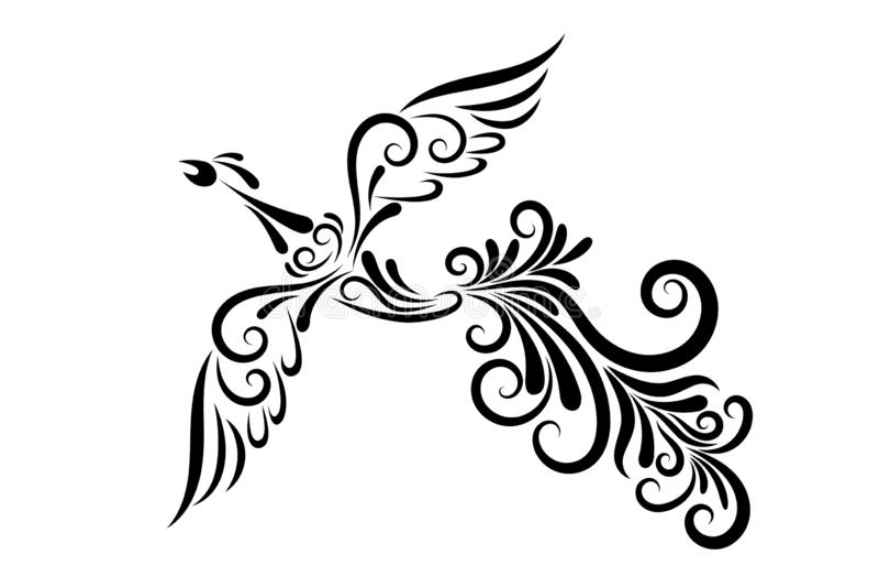 Firebird from the black line ornament vector illustration