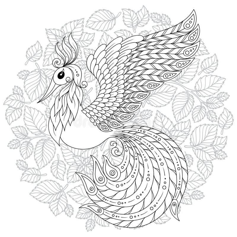 Firebird para a anti página da coloração do esforço com detalhes altos ilustração do vetor