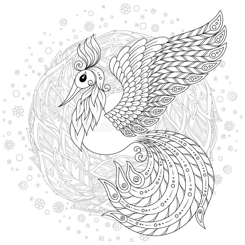 Firebird para a anti página da coloração do esforço com detalhes altos ilustração royalty free