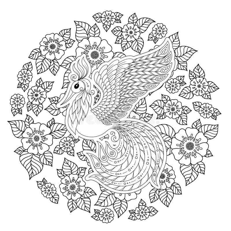 Firebird para la página anti del colorante de la tensión con los altos detalles ilustración del vector