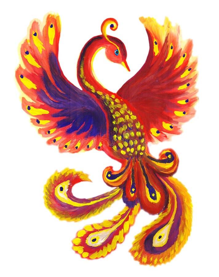 Firebird phoenix decor illustration. Fire feathers, red firebird vector illustration