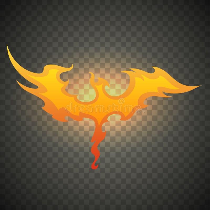 Firebird Phoenix Llamas realistas del fuego aisladas en fondo transparente Efecto luminoso ardiente especial con las chispas para ilustración del vector